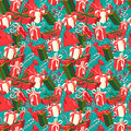 Festive Christmas and New Year seamless presents pattern in vint