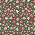 Festive Christmas and New Years background. Seamless pattern with gingerbread ornaments in scandinavian style.