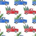Watercolor winter seamless pattern with red and blue Christmas truck and fir pine tree on white background Royalty Free Stock Photo