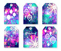Festive collection of neon polygonal Christmas labels with snowflakes.