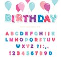 Festive colorful paper cutout font. Bright cartoon ABC letters and numbers isolated on white. For birthday posters, banners,
