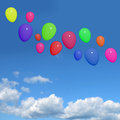 Festive Colorfull Balloons In The Sky For Birthday Or Anniversar Royalty Free Stock Photo