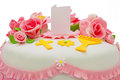 Festive communion cake with fondant roses Stock Images