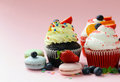 Festive cupcakes with berries Royalty Free Stock Photo