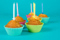 Festive cupcakes with a candles Royalty Free Stock Photos