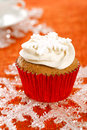 Festive cupcakes snowflake glitter on red Royalty Free Stock Photography