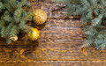 Festive Decorated Evergreen Boughs on Wooden Table Royalty Free Stock Photo