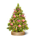 Festive Decoration Christmas Tree Pine On Wooden Stand
