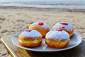 Festive donuts with jam for hanukkah is a traditional jewish holiday Royalty Free Stock Image