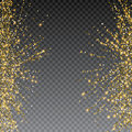 Festive explosion of confetti. Gold glitter background for the card, invitation. Holiday Decorative element