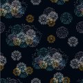 Festive fireworks on a dark background seamless pattern. Decoration for Christmas, New Year holidays and celebrations. Royalty Free Stock Photo