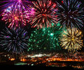 Festive fireworks over the night city Royalty Free Stock Photo