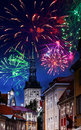 Festive fireworks over the Old city in Tallinn Royalty Free Stock Photo