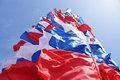 Festive flags of red blue and white color Royalty Free Stock Photo