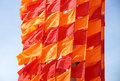Festive flags of red and orange color Royalty Free Stock Photo