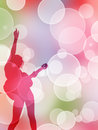 Festive flyer girl with a guitar on a Royalty Free Stock Image