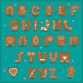 Festive font funny cookies gingerbread alphabet vector illustration Stock Photography