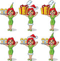 Festive girl xmas elf leprechaun waitress drawing Stock Photography