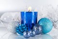 Festive glitter christmas decoration silver blue traditional in and Royalty Free Stock Photo