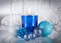 Festive glitter christmas decoration silver blue traditional in and Stock Photo
