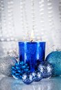 Festive glitter christmas decoration silver blue traditional in and Stock Images