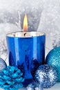 Festive glitter christmas decoration silver blue traditional in and Stock Image