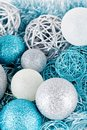 Festive glitter christmas decoration silver blue traditional in and Stock Photography