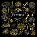 Festive Golden Firework Icons Set Royalty Free Stock Photo