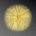 Festive golden fireworks. Christmas firecracker light effect isolated on dark background. Firework d