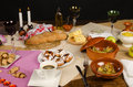 Festive hanukkah table with an assortment of traditional food Stock Photography
