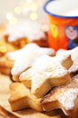 Festive homemade gingerbread  star cookies Stock Photography