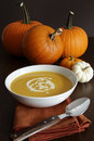 Festive homemade pumpkin soup in a bowl Royalty Free Stock Photo