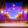 Festive illumination on street new year in gomel belarus Royalty Free Stock Photos