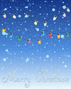 Festive lights an illustration of a christmas abstract greeting card design with colorful and the words merry christmas on a snowy Royalty Free Stock Photography