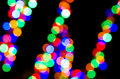 Festive lights out of focus with polygonal bokeh Stock Photo