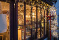 Festive lights outside a shop window Royalty Free Stock Photo