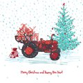 Festive New Year and Merry Christmas card. Red tractor with fir tree decorated red balls and holiday gifts White snowy Royalty Free Stock Photo