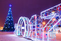 Festive New Year Square with Christmas tree. Gomel, Belarus