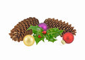 Festive pine cones holly and baubles Royalty Free Stock Photo