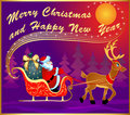 Festive postcard with deer sled and santa Royalty Free Stock Photography