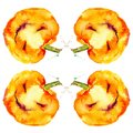 Festive pumpkin smiles on Halloween holiday. Watercolor illustration isolated on white background Royalty Free Stock Photo
