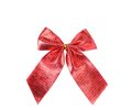 Festive red bow made of ribbon isolated on white Royalty Free Stock Images