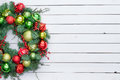 Festive red and green Christmas wreath