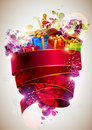 Festive red poster. Royalty Free Stock Images
