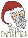 Festive Santa Claus Doodle for Christmas Celebration, Vector Illustration