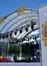 Festive scene on st michael s square in preparation for the celebration in the europe day in kiev ukraine may Royalty Free Stock Photos