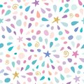 Festive seamless pattern with glitter confetti, stars and splashes. For birthday celebration. Vector