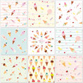 Festive seamless pattern set with sweets. Ice cream summer theme.