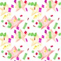 Festive seamless pattern with stains and confetti