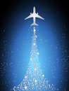 Festive silhouette aircraft fly over dark blue sky Royalty Free Stock Photo